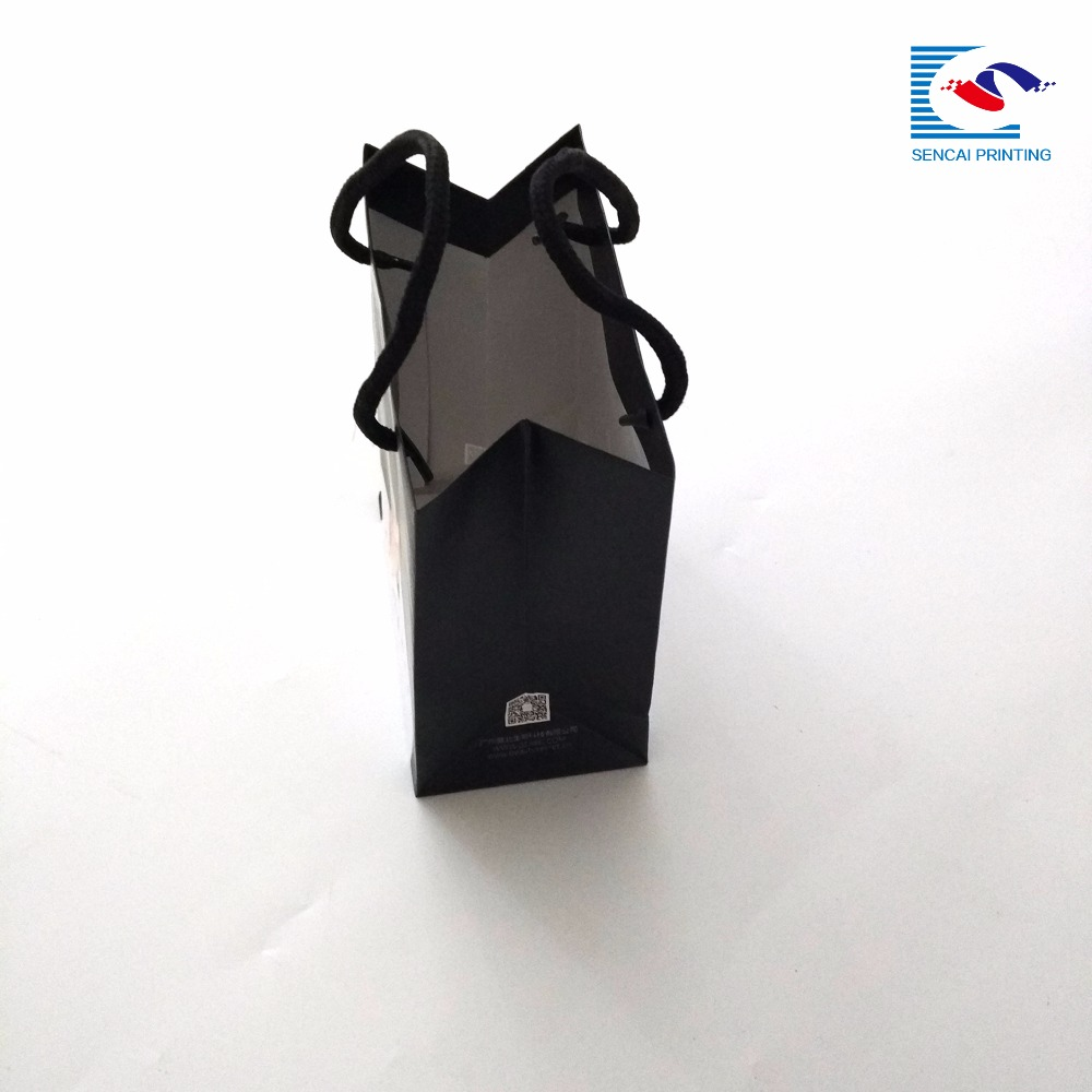 Sencai China factory handle custom black printing matte lamination small cute gift paper bag