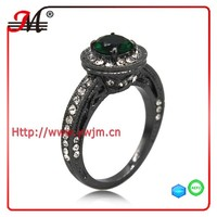R7683B J&M Fashion black gold clear crystal Emerald ring