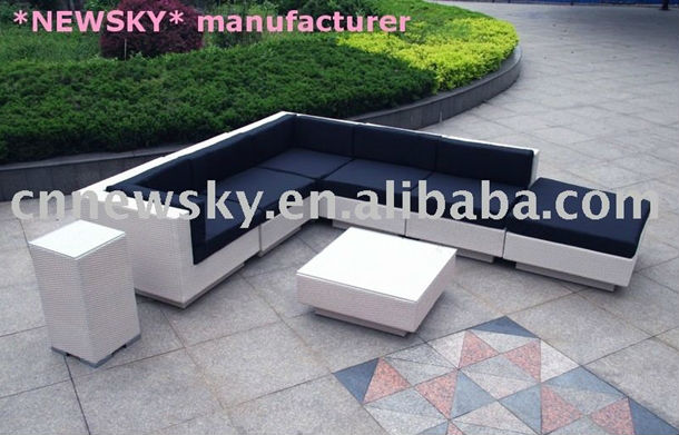 Outdoor garden rattan furniture lounge big sofa set