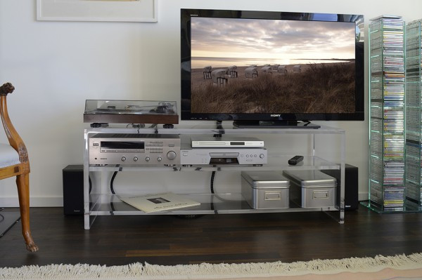Luxury Clear Acrylic Media Console Tv Table With 3 Shelves