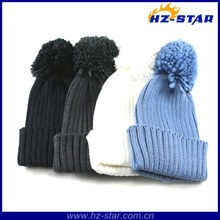 HZM-12203 real animal fleece fur beanie soft feel nice pompom pure color hat pattern