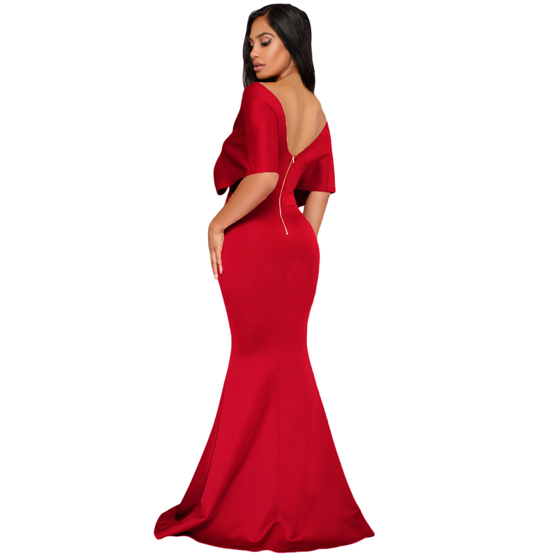 Wholesale Sexy Red Off The Shoulder Mermaid Maxi Christmas Boutique Dress