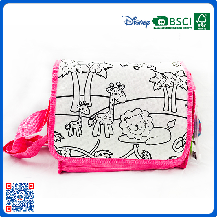 top sales DIY zoo coloring Nylon backpack children painting bags
