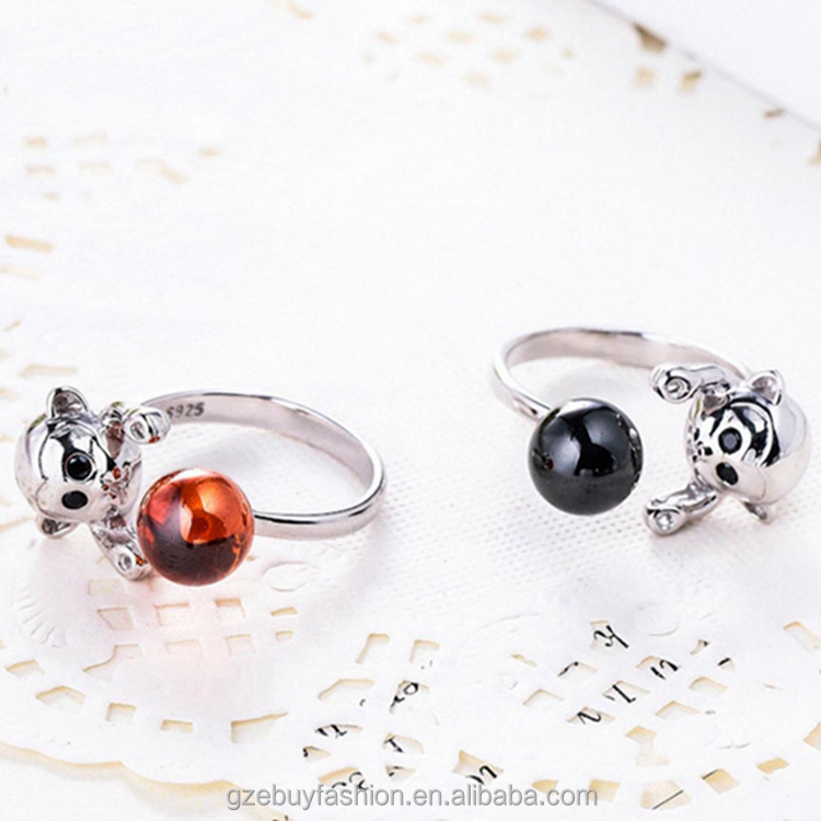 Latest Design Monkey Shape Silver Rings 925 Sterling Silver Rings with Color Ball