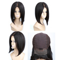 Silky Straight Front Lace Wig Virgin Brazilian 12 Inch Bob Wig