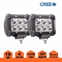 "Wholes 4"" 18W CREE LED Work Light Bar CREE Driving Spot Lamp Offroad SUV ATV Truck UTE bar light"