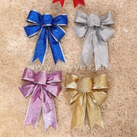 Wholesale cheap christmas tree decorations 25cm glitter powder bowknot, butterfly knot decoration