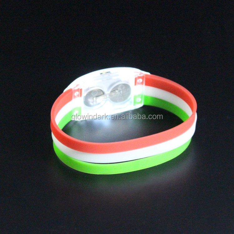promotional silicone country flag with logo design LED flashing wristband