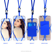 Neck Strap Lanyard Cell Phone Silicone Rubber Case with Credit Card Holder for iPhone 6S Plus