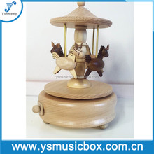 Carousel Horse Music Box Wooden Music Boxes, Mechanical Music Box Gift