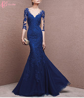 Royal Blue A-line New Model Cheap V Neck Open Back Sexy Mermaid Wedding Dress 2017