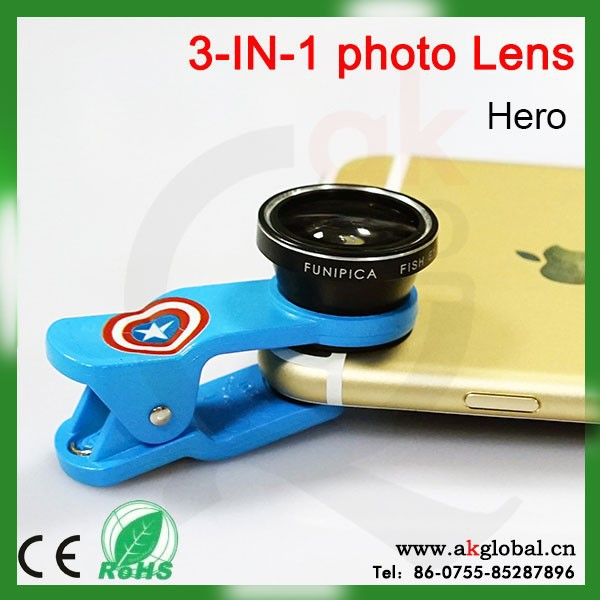 3 in 1 universal fisheye wide angle macro mobile phone camera lens