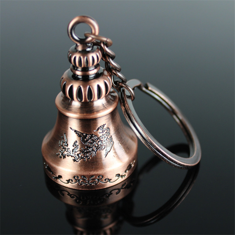 High Quality Small Jingle Bell Car Key Keychain Key Rings Holder Souvenir Creative Gift For Antique Copper Plated Keyring