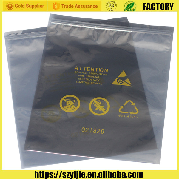 China Manufacture Customized Waterproof Zip lock Antistatic Shielding Sliver Bag