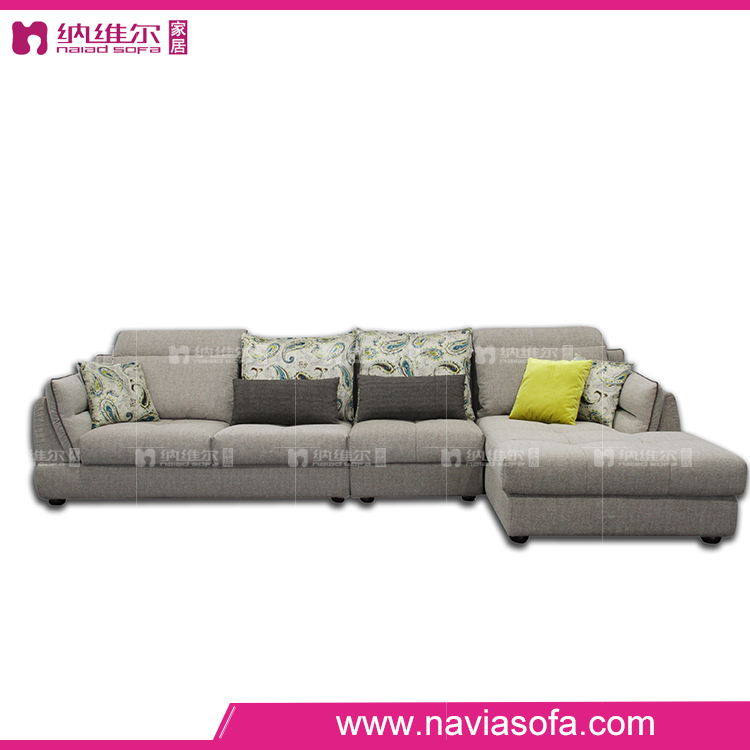 Foshan general use cheap latest design small corner fabric couch living room sofa