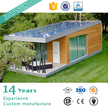 California movable tiny vacation cabin house prefabricated with solar panel veranda