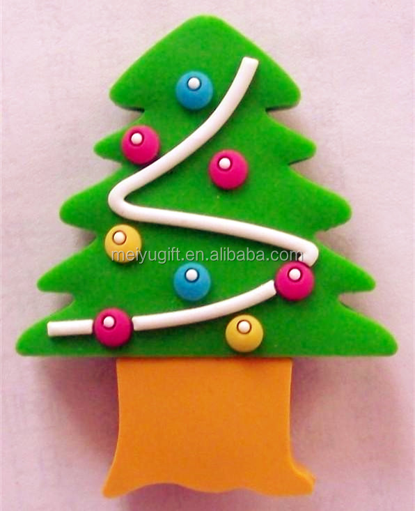 soft pvc christmas trees usb drive flash happy new year