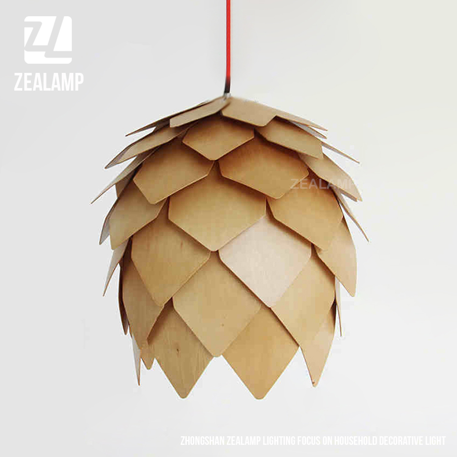 Modern Artichoke Lighting Crimean Pine Cone Wooden Pendant <strong>Lamp</strong>