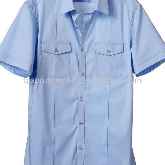 Men's short sleeve spandex / cotton uniform shirt