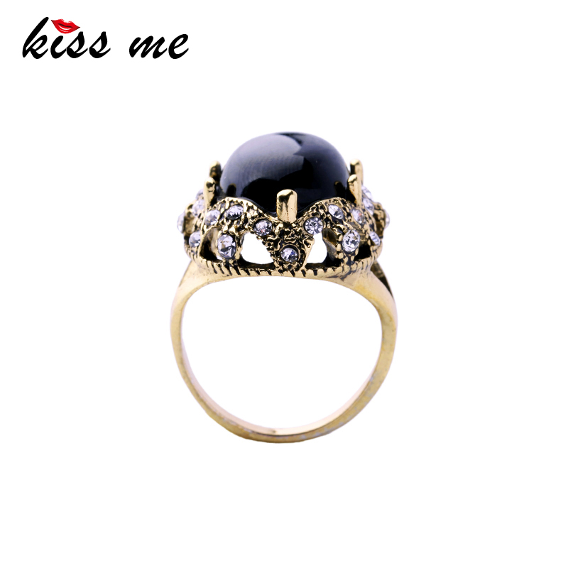 Black Round Resin <strong>Ring</strong> for Party 2017 New Finger <strong>Rings</strong> Antique Gold Plated
