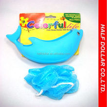 Eco-Friendly Dolphin Shape Plastic Soap Holder with Sponge