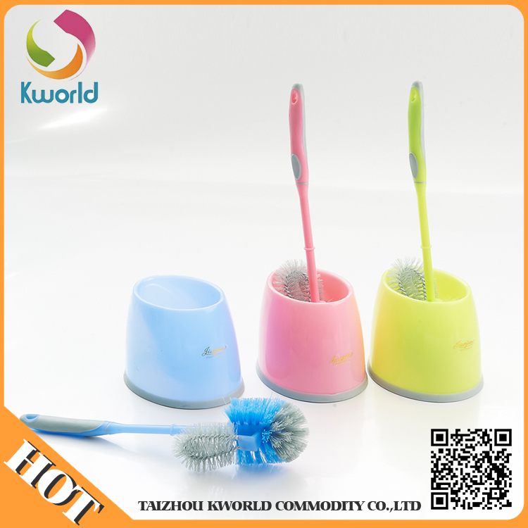 long handle plastic cleaning toilet brush with round brush head