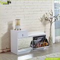 Space saving luxury shoe rack bench with mirror,3 drawers,white