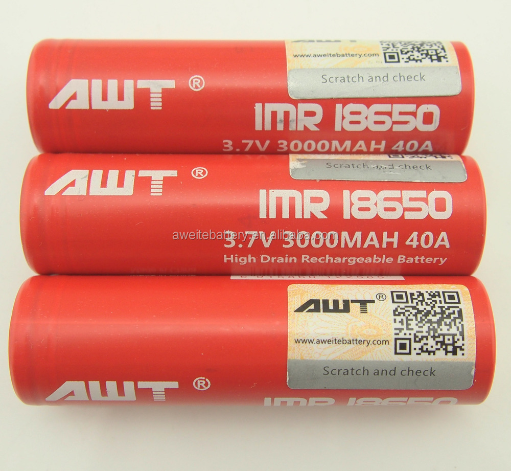 100% Authentic AWT 40A 18650 3000mAh Battery for Nemesis Box Mod