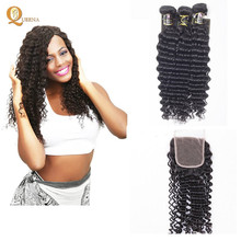 Cheap Deep Curly Hair Extensions Weft Brazilian Hair Weavon Bundles With Closures Wholesale