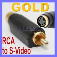 4 Pin S-Video to RCA Composite Male Adapter Converter F GOLD