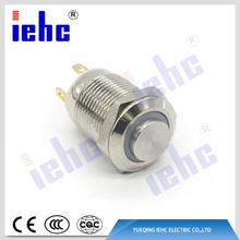 YHJ series 4 pin 12mm waterproof metal ring illuminated 120 volt push button switch