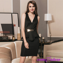 Black Pleated Peplum Middle Aged Women Design Beautiful Lady Fashion Dress