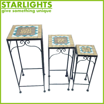 Square mosaic design popular product iron wire flower pot stands
