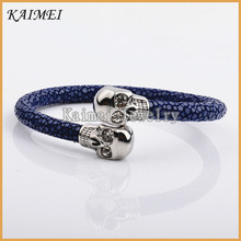 High Quality Hip Pop Jewelry Wholesales 100% Genuine Blue Stingray Skull Bracelet For Men