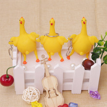 Wholesale funny toys hens keychain stress relief Squeeze vent toy laying egg chicken