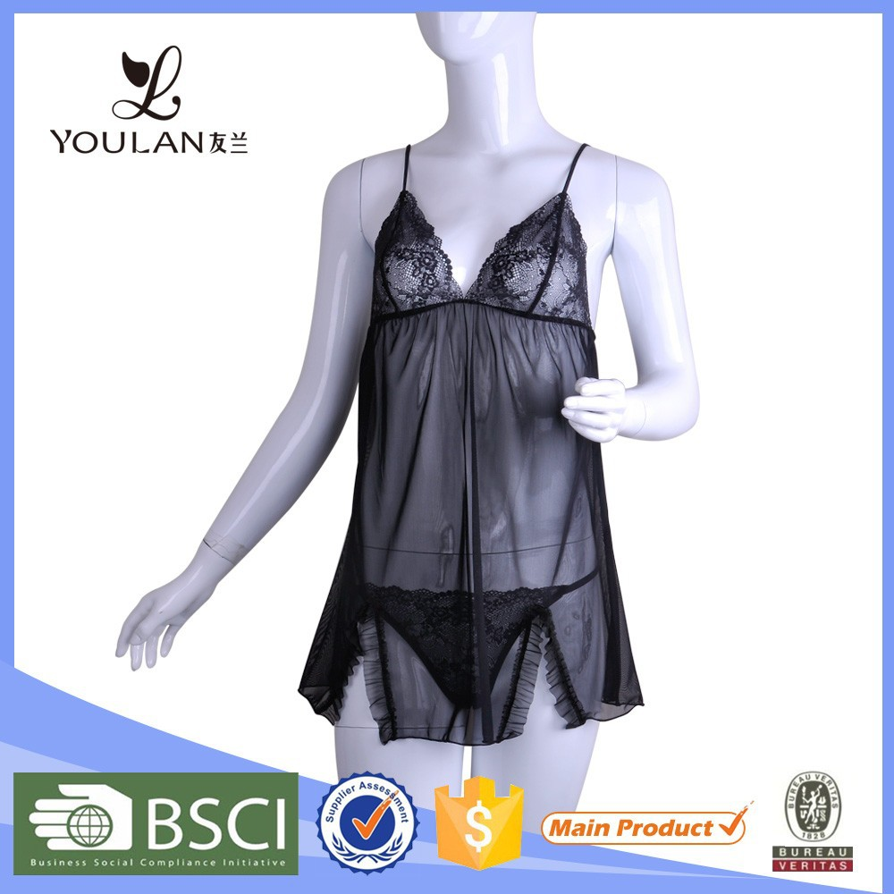 Cheapest Valentine Young Women Black Sexy Underwear Italian Lingerie