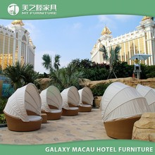 Galaxy Macau hospitality furniture Resin Wicker Outdoor Round Lounge Resort Sunbed Swimming Pool Bed
