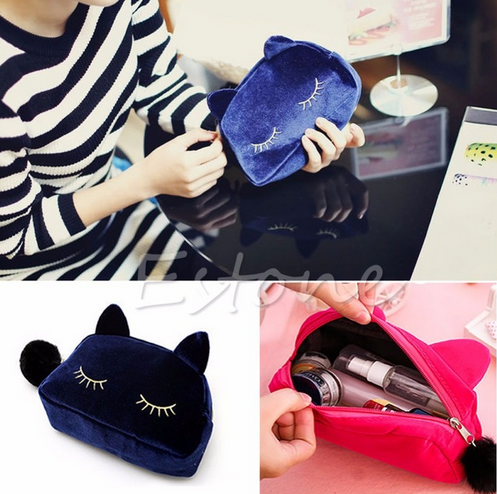 NEW Flannel Cute Cartoon Cat Cosmetic Makeup Bags Storage Pen Pencil Pouch Cases Storage bag