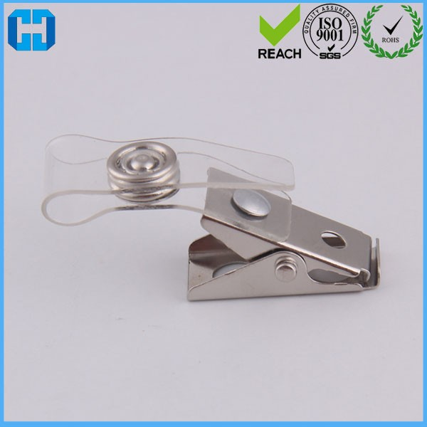 Office ID Card Name Tag Holder Badge Strap Clip Silver Color