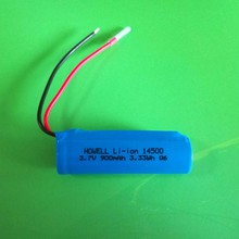3.7v 900mah aa ICR14500 lithium ion battery pack