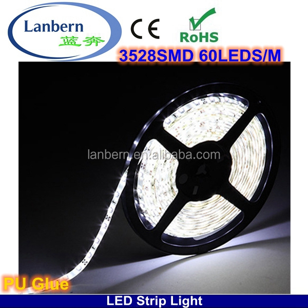 PU Glue Not Go Yellow! China wholesale high lumen IP65 4.8w/m SMD3528 flex computer controlled led strip lighting CE&ROHS