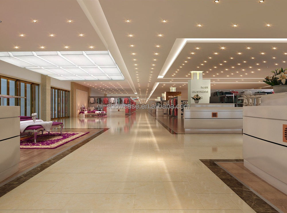 High end fashion electronics showroom design with showcase for Furniture mall