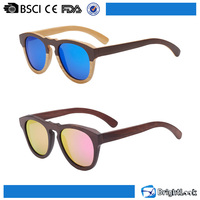 Round colored Ebony/red sandal nature bamboo metal hinge wood sunglasses