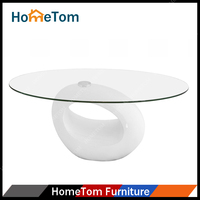 2016 Popular Quality High Gloss Finish Fiber Glass and Tempered Glass Coffee Table