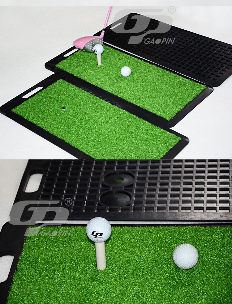 Artifical grass mini rubber base with handle golf hitting mat