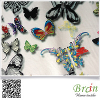 Butterfly Design 3D Design Super Soft Polyester Material Printed Velour Fabric