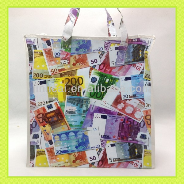 pp woven zipper storage bag with euro currency printing