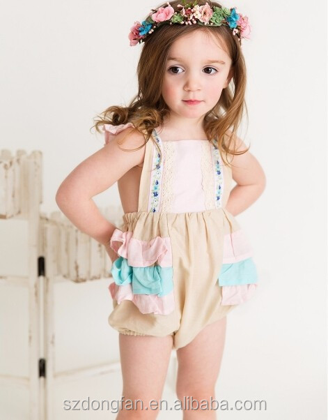 2017 summer baby flower vintage ruffle lace romper wholesale children's boutique romper