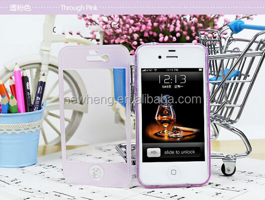 Soft surface Full body TPU Gel Case with built Screen protector cover For iphone 5 5s