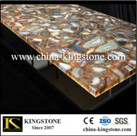 Custom Engineering brown agate bar countertop